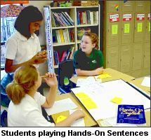 Students Playing Hands-On Sentences